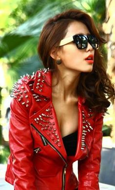 At a loss!!!Free shipping by EMS super cool Women Punk Rivets Blazer 2012 Fashion lady PU Leather Studded Motorcycle Jacket-in Leather & Sue...