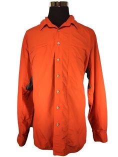 Eddie Bauer Sport Outdoor Fishing Shirt Mens XL Tall Nylon Long Sleeve Orange…
