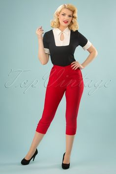 Skinny cigarette pants, mid shin capri, denim jeans, crop pant, high waist and wide leg trousers and overalls too. Rockabilly Hair, Rockabilly Outfits, Rockabilly Fashion, 1950s Fashion, Rockabilly Clothing, High Jeans, High Waist Jeans, Pedal Pushers, Vintage Pants