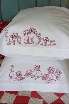 Just perfect for the cat lover - 8 cute kitties on 2 pillowcases.  Make a special pillowcase or two for yourself, your kids or another kitty person in your life.  Make your own QUICK & EASY pillowcases using the enclosed instructions or embroider your designs on pre-made pillowcases.