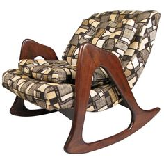 Vintage 1950s Sculptural Walnut Rocking Chair by Adrian Pearsall | From a unique collection of antique and modern rocking chairs at https://www.1stdibs.com/furniture/seating/rocking-chairs/