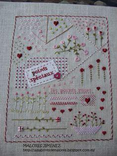 Poco a poco vamos completando las hojas de nuestro precioso Cahier de broderie, seguimos retrasadas, pero ya sólo nos quedan 3 hojas, a ve... Crochet Motif Patterns, Floral Embroidery Patterns, Embroidery Sampler, Wool Embroidery, Hand Embroidery Stitches, Embroidery Hoop Art, Cross Stitch Embroidery, Quilt Patterns, Stitch Patterns