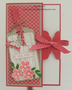Stampin' Up! UK Demonstrator - Teri Pocock: Hardwood, Petite Petals - Scalloped Tag topper punch; Card