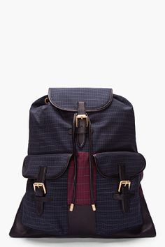 Marc Jacobs Blue Wool Leather Trim Backpack for men | SSENSE