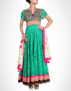 Abstract print anarkali with sequin work. Available in more colours.  Shop Now: www.kimaya.in.