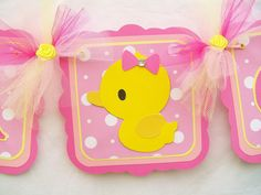Rubber duck baby shower banner, its a girl, pinks and yellow - READY TO SHIP. $30.00, via Etsy.