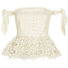 Self Portrait Peplum Lace Corset ($319) ❤ liked on Polyvore featuring tops, blusa, corsets, shirts, ivory, sleeveless shirts, white sleeveless shirt, white lace shirt, peplum top and ivory lace top