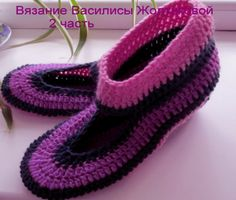 "Тапочки крючком.Тапочки ""Полоска"", 2 часть. Crochet slippers.                                                                                                                                                      Más"