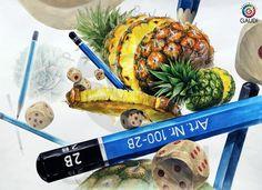 [ 상명대학교 기초디자인유형 제안작 파인애플, 나무주사위, 연필 ]- 청주 가우디 미술학원 기초디자인반 -...