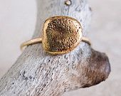 14k Gold and Bronze Small Rock Ring