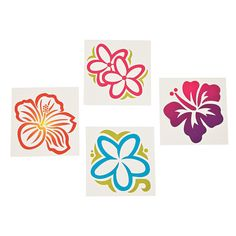 Large Luau Flower Tattoos - OrientalTrading.com