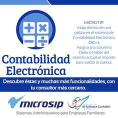 #MicroTips Atajo dentro de una póliza en el sistema de Contabilidad Electrónica. Ctrl + L Asigna a la columna Debe o Haber del asiento actual, el importe para saldar la cuenta.