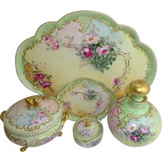 Limoges Rosenthal Hand Painted Roses and Jeweled Vanity Set Signed Antique Vanity, Antique China, Vintage China, Antique Dishes, Vintage Dishes, Vintage Ceramic, Painted Roses, Hand Painted, Painted Porcelain