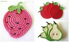ミヽ◕‿◕ノ彡 Porta-Copos Frutas com Crochê. Crochet Cozy, Crochet Gifts, Cute Crochet, Crochet Yarn, Handmade Crafts, Diy And Crafts, Knitting Patterns, Crochet Patterns, Crochet Potholders