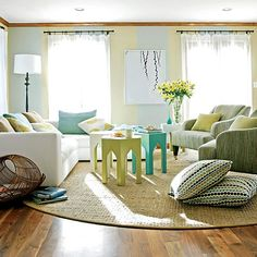 Small, colorful family room.