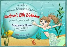 Child's Swim Party Invitation Idea using Clip Art from Mermaid Adventure by SpectacularPrintable, $4.00 for the mermaid clip art only.