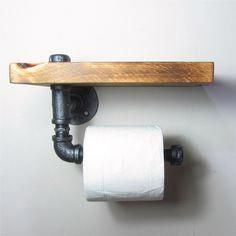 Add a little Industrial/Urban chic to your bathroom Combining a handy wooden shelf and using iron pipes to make the sturdy roll holder. Industrial Toilets, Rustic Toilets, Industrial Shelving, Industrial Bathroom, Industrial Pipe, Vintage Industrial, Industrial Style, Wood Storage Shelves, Wooden Shelves