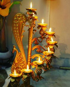 Decorated peacock lamp stand