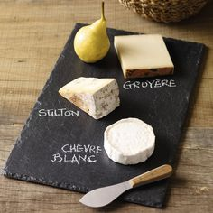 Easy to copy idea....blackboard cheese board....though this one is a Slate Cheese Board from The White Company