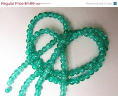 SALE 70 Beads, Crackle Glass, Aqua Green Color, 6mm- Jewelry Making Supplies- Earrings, Bracelet, Necklace $1.80