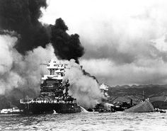 World War II: Pearl Harbor. The USS Maryland, a battleship moored inboard of the USS Oklahoma, which capsized, was damaged slightly in the Japanese attack on Pearl Harbor on December Pearl Harbor 1941, Pearl Harbor Day, Pearl Harbor Attack, Naval History, Military History, Military Honors, Ww2 History, Military Art, Ancient History