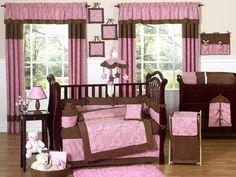 Pink and Brown Paisley Baby Nursery Crib Bedding Set. I love pink/brown and paisley themed girl nurseries--this has both.