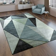 Designer Rug High Low Look Triangle Pattern Black Green Grey Turquoise Pastel Lounge Colour Schemes, Color Schemes, Carpet Tiles, Rugs On Carpet, Turquoise Rug, Tapis Design, Triangle Pattern, Green And Grey, Home And Garden