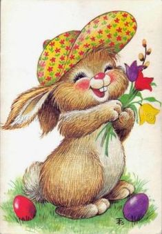 Easter Art, Easter Crafts, Ostern Wallpaper, Lapin Art, Easter Bunny Pictures, Bunny Painting, Cute Animal Illustration, Diy Ostern, Decoupage Vintage