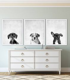 Set of 3 Animal Prints (actual physical prints sent to you) - Dachshund, Bulldog, and French Bulldog Pick any three from my shop! Just note which ones in the Notes to Seller when purchasing. Take a look at over a hundred more nursery prints in our nursery decor shop. Nursery art makes