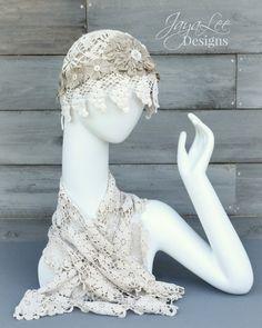 Lace Flapper Cap by Jaya Lee Designs #lacehat #flapper #1920swedding