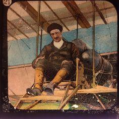 Early aviation magic lantern slide