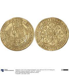 England: Edward III. Münze Edward III. (1327-1377), König von England, 1327-1365 und 1372-1377 Herzog von Aquitanien, Königtum, Münzherr 1351-1361 Land: Großbritannien (Land) Region: England (Region) Münzstätte/Ausgabeort: London Fundort: Deutschland (Land) Fundort: Köln (Ort) Nominal: Noble, Material: Gold, Druckverfahren: geprägt Gewicht: 7,67 g Durchmesser: 34 mm
