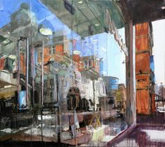 Colin Davidson is a contemporary visual artist living and working near Belfast, N. Colin Davidson, Henry Darger, Window Reflection, Watercolor Architecture, Cityscape Art, City Scene, Built Environment, Distortion, City Art
