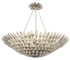 """Crystorama Broche 8 Light Antique Sliver Pendant #519-SA 