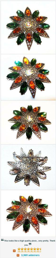 "Weiss Brooch Signed Green Orange Rhinestones Pinwheel Flower Design Silver Filigree Metal 2"" Vintage https://www.etsy.com/listing/398913115/"