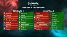 """Ecco la disposizione finale dei paesi in gara all'Eurovision 2013 per metà-semifinali. L'ordine esatto di esibizione sarà deciso dai produttori dello show, con le restrizioni date dal sorteggio dei paesi nelle precise """"metà semifinali"""""""