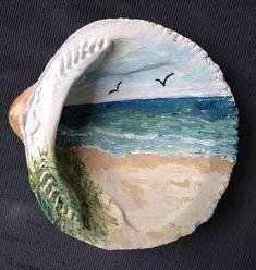 Seashell Painting, Seashell Art, Seashell Crafts, Beach Crafts, Seashell Projects, Sea Glass Crafts, Painted Shells, Art Drawings For Kids, Rock Painting Designs