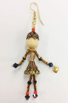 """LITTLE SIDEKICKS   HANDCRAFTED BY CJ STUDIO - """"TEA"""" Little Sidekicks are tiny, whimsical, collectable, jewelry people (Bead People). Each one is unique, and they have moveable parts. Little Sidekicks can be worn as a pendant on a chain or can have a clip added to use on a handbag or clipped onto a collar. Sidekicks make a great unique gift and can be made to order with personalized colors and charms. Available at: http://www.littlesidekicks.com"""
