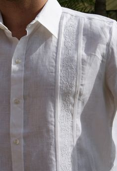 Non Pockets Wedding Guayabera Premium Linen Long Sleeve (4433) - Mexican wedding shirts manufactured by D'accord in the USA. These wedding shirts are 100% Premium Linen,the best you can buy. High quality  guayabera shirt. Wedding Guayabera shirt Long sleeve. Non Pockets. Long Sleeve  Dry Clean for best result.  Available In white and Gold upon request (3 weeks)  Availability is subject to change.