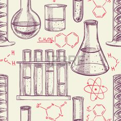 seamless background with chemical equipment and formulas hand drawn illustration Stock Vector