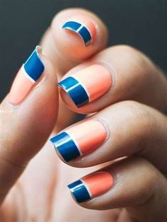 colour block nails #beauty #nailart