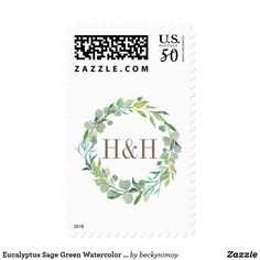 Eucalyptus Sage Green Watercolor Floral Monogram Postage - spring gifts beautiful diy spring time new year Spring Wedding, Diy Wedding, Wedding Gifts, Custom Postage Stamps, Wedding Planning Guide, Eucalyptus, Green Watercolor, Self Inking Stamps, Bridal Gifts