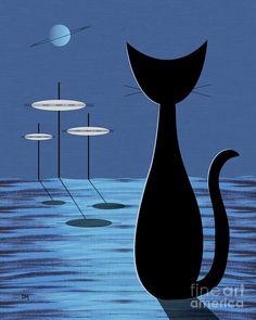 Mid Century Modern Art Print featuring the digital art Space Cat In Blue by Donna Mibus Retro Kunst, Retro Art, Vintage Art, Mid Century Modern Art, Mid Century Art, Zantangle Art, Fine Art Amerika, Black Cat Art, Black Cats