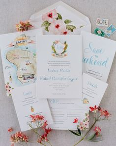 floral watercolor invitations and a hand drawn map for a destination wedding | Photography: Joel Serrato