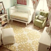 I love the idea of this simple nursery scheme. The colors are also my favorites.  This would work for a girl or boy.