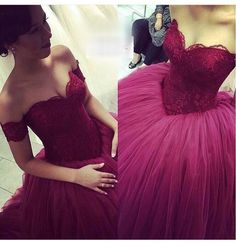 Sexy Prom Dress,Off Shoulder Ball Gown Prom Dresses,Burgundy Tulle Evening Dress,Formal Dress by fancygirldress, $199.00 USD