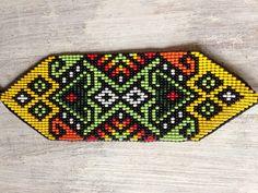 Sacred Geometry Beaded Bracelet Wide by TigreAbuelo on Etsy