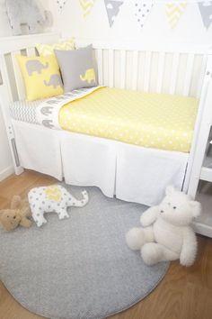 Grey and yellow elephant spot nursery set by MamaAndCub on Etsy