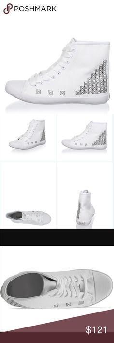 """NIB Be&D sneakers New in Box, Be & D Studded Print Sneaker, Heel to Toe 9.5"""", Shaft height from arch 5"""", Lightweight style with a geometric studded print and ribbon laces, Material: Canvas, Insole Textile, Sole Manmade.  Sz 37 Be & D Shoes Sneakers"""
