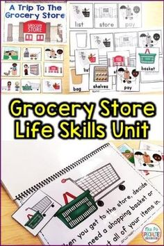 Teach students functional life skills with this grocery store unit. Students will learn the vocabulary, where items are located in the store, where the items go once they take them home, etc. This life skills unit is perfect for special education classrooms, students with disabilities and autism, and daily living instruction. by hattie